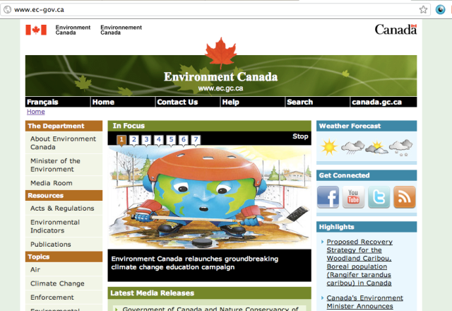 A screen-shot of the false Environment Canada website, introducing What a Difference A Degree Makes